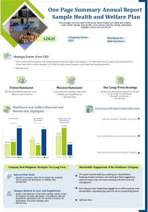 One Page Summary Annual Report Sample Health And Welfare Plan Presentation Report Infographic PPT PDF Document
