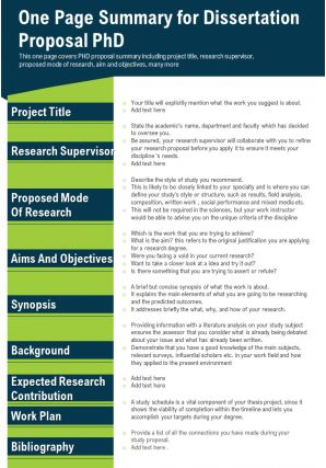One Page Summary For Dissertation Proposal PhD Presentation Report Infographic PPT PDF Document