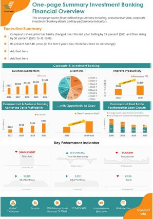 One Page Summary Investment Banking Financial Overview Report PPT PDF Document