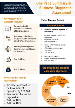 One Page Summary Of Business Diagnostic Assessment Presentation Report Infographic PPT PDF Document