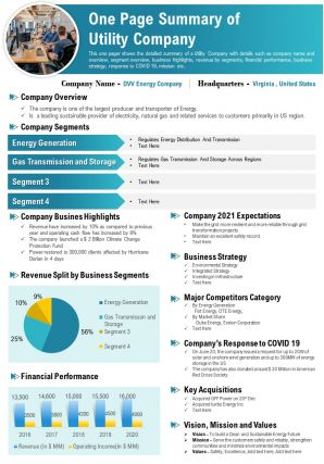One Page Summary Of Utility Company Presentation Report Infographic PPT PDF Document