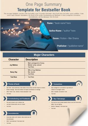 One Page Summary Template For Bestseller Book Presentation Report Infographic PPT PDF Document