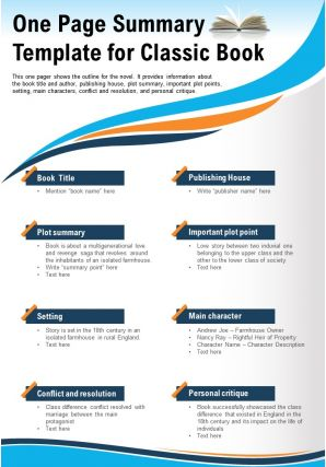 One Page Summary Template For Classic Book Presentation Report Infographic PPT PDF Document