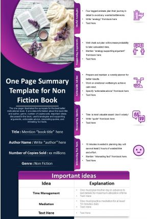 One Page Summary Template For Non Fiction Book Presentation Report Infographic PPT PDF Document