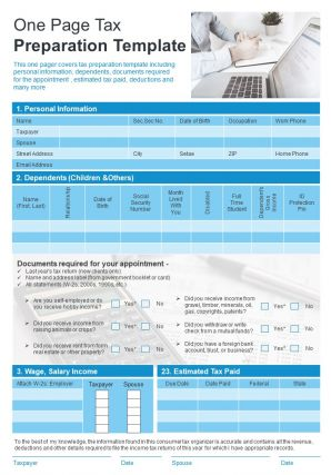 One Page Tax Preparation Template Presentation Report Infographic PPT PDF Document