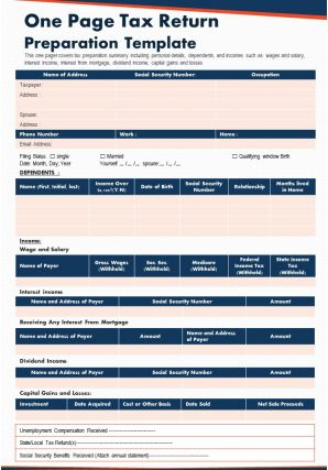 One Page Tax Return Preparation Template Presentation Report Infographic PPT PDF Document