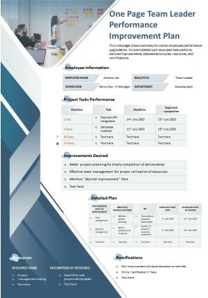 One Page Team Leader Performance Improvement Plan Presentation Report Infographic PPT PDF Document