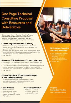 One Page Technical Consulting Proposal With Resources And Deliverables Report Infographic PPT PDF Document