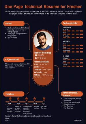 One Page Technical Resume For Fresher Presentation Report Infographic PPT PDF Document