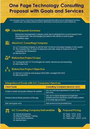 One Page Technology Consulting Proposal With Goals And Services Report Infographic PPT PDF Document