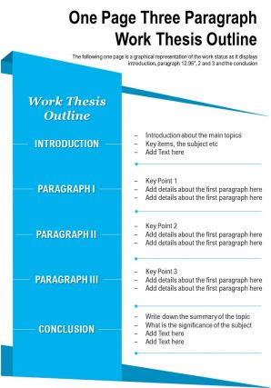 One Page Three Paragraph Work Thesis Outline Presentation Report Infographic PPT PDF Document