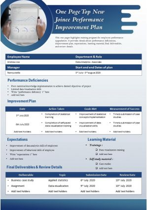 One Page Top New Joinee Performance Improvement Plan Presentation Report Infographic PPT PDF Document