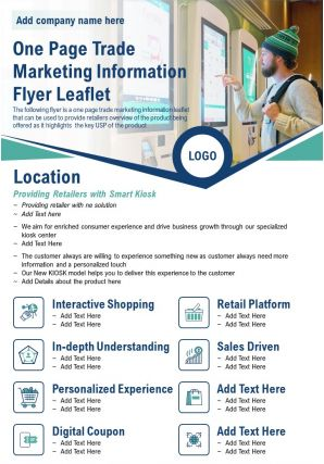 One Page Trade Marketing Information Flyer Leaflet Presentation Report Infographic PPT PDF Document