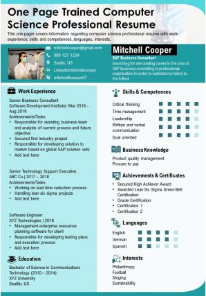 One Page Trained Computer Science Professional Resume Presentation Report Infographic PPT PDF Document