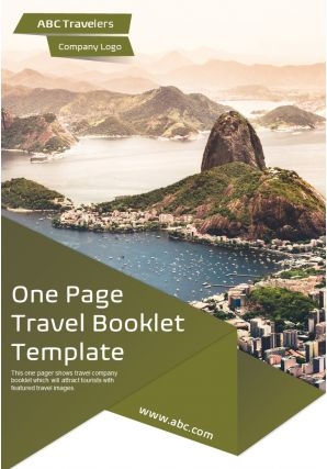 One Page Travel Booklet Template Presentation Report Infographic PPT PDF Document