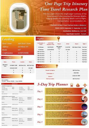 One Page Trip Itinerary Time Travel Research Plan Presentation Report Infographic PPT PDF Document