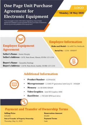 One Page Unit Purchase Agreement For Electronic Equipment Presentation Report Infographic PPT PDF Document