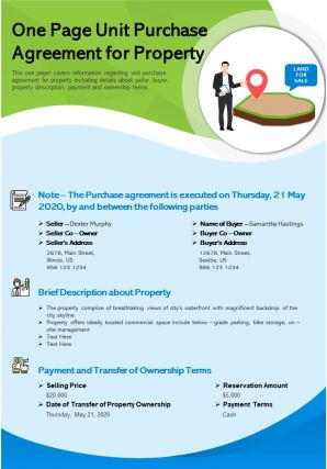 One Page Unit Purchase Agreement For Property Presentation Report Infographic PPT PDF Document