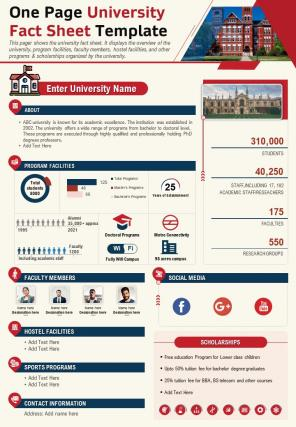 One Page University Fact Sheet Example Presentation Report Infographic PPT PDF Document