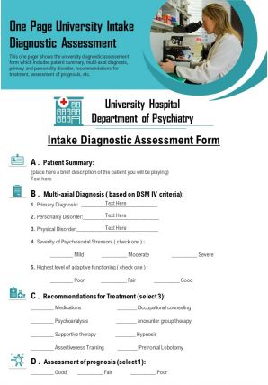 One Page University Intake Diagnostic Assessment Presentation Report Infographic PPT PDF Document