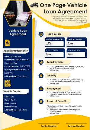 One Page Vehicle Loan Agreement Presentation Report Infographic PPT PDF Document