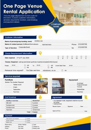 One Page Venue Rental Application Presentation Report Infographic PPT PDF Document