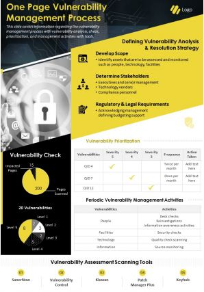 One Page Vulnerability Management Process Presentation Report Infographic PPT PDF Document