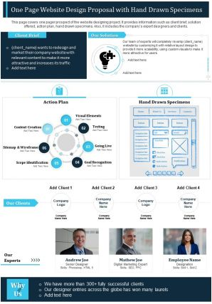 One Page Website Design Proposal With Hand Drawn Specimens Report PPT PDF Document