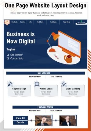 One Page Website Layout Design Presentation Report Infographic PPT PDF Document