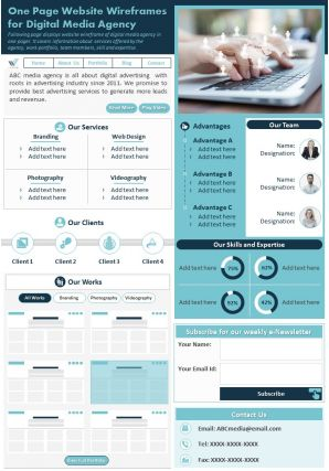 One Page Website Wireframes For Digital Media Agency Presentation Report PPT PDF Document