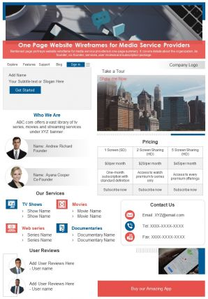 One Page Website Wireframes For Media Service Providers Presentation Report PPT PDF Document