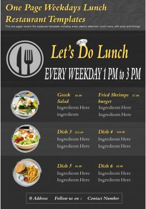 One Page Weekdays Lunch Restaurant Templates Presentation Report Infographic PPT PDF Document