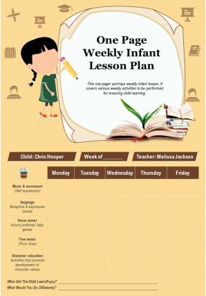 One Page Weekly Infant Lesson Plan Presentation Report Infographic PPT PDF Document
