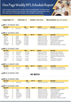 One Page Weekly NFL Schedule Report Presentation Report Infographic PPT PDF Document
