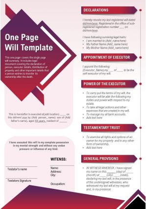 One Page Will Template Presentation Report Infographic PPT PDF Document