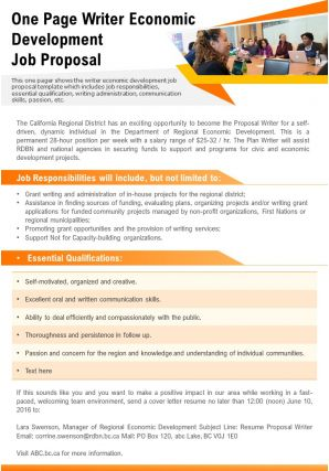 One Page Writer Economic Development Job Proposal Presentation Report Infographic PPT PDF Document
