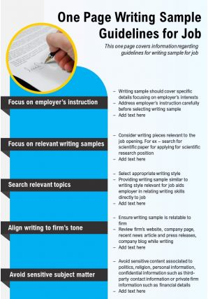 One Page Writing Sample Guidelines For Job Presentation Report Infographic PPT PDF Document