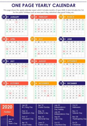 One Page Yearly Calendar Presentation Report Infographic PPT PDF Document