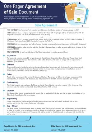 One Pager Agreement Of Sale Document Presentation Report Infographic PPT PDF