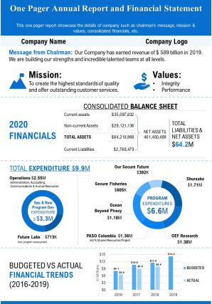 One Pager Annual Report And Financial Statement Presentation Report Infographic PPT PDF Document