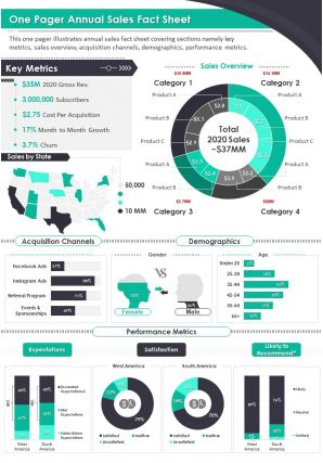 One Pager Annual Sales Fact Sheet Presentation Report Infographic PPT PDF Document