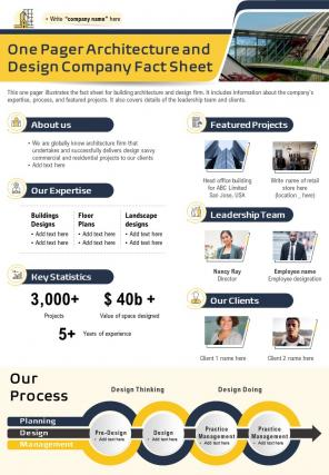 One Pager Architecture And Design Company Fact Sheet Presentation Report Infographic PPT PDF Document