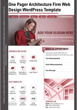 One Pager Architecture Firm Web Design Wordpress Template Presentation Report Infographic PPT PDF Document