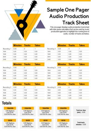 One Pager Audio Production Track Sheet Presentation Report Infographic PPT PDF Document