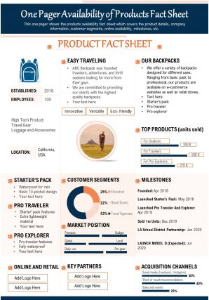 One Pager Availability Of Products Fact Sheet Presentation Report Infographic PPT PDF Document