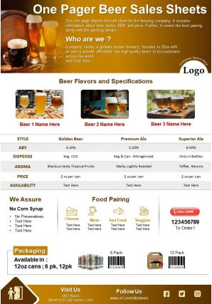 One Pager Beer Sales Sheets Presentation Report Infographic PPT PDF Document