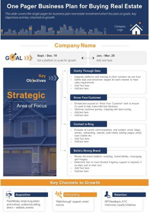 One Page Business Plan For Buying Real Estate Document PPT PDF Doc Printable