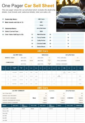 One Pager Car Sell Sheet Presentation Report Infographic PPT PDF Document