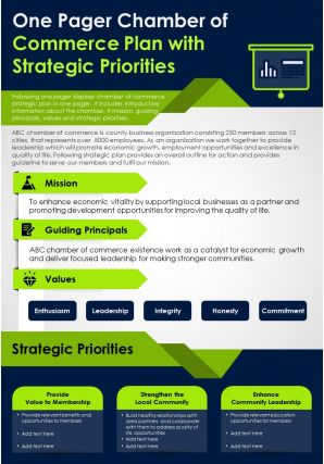 One Pager Chamber Of Commerce Plan With Strategic Priorities Presentation Report Infographic PPT PDF Document