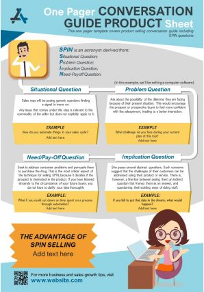 One Pager Conversation Guide Product Sheet Presentation Report Infographic PPT PDF Document